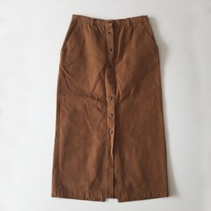 Vintage 90s Brown Button Up Cotton Skirt Size M